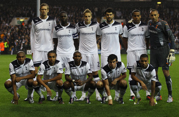 LONDON, ENGLAND - AUGUST 25:  Tottenham Hotspur line up prior to the UEFA Champions League play-off second leg match between Tottenham Hotspur and BSC Young Boys at White Hart Lane on August 25, 2010 in London, England.  (Photo by Clive Rose/Getty Images)