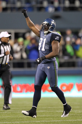 SEATTLE, WA - JANUARY 02:  Defensive end Chris Clemons #91 of the Seattle Seahawks celebrates advancing to the playoffs after defeating the St. Louis Rams 16-6 at Qwest Field on January 2, 2011 in Seattle, Washington.  (Photo by Otto Greule Jr/Getty Image