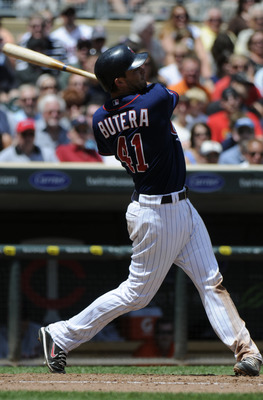 MINNEAPOLIS, MN - JUNE 30: Drew Butera #41 of the Minnesota Twins bats in the seventh inning against the Detroit Tigers during their game on June 30, 2010 at Target Field in Minneapolis, Minnesota. Twins won 5-1. (Photo by Hannah Foslien /Getty Images)
