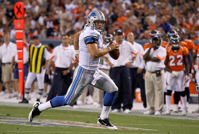 DENVER - AUGUST 21:  Quarterback Matthew Stafford #9 of the Detroit Lions scrambles against the Denver Broncos during preseason NFL action at INVESCO Field at Mile High on August 21, 2010 in Denver, Colorado. The Lions defeated the Broncos 25-20.  (Photo