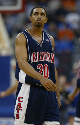 RALEIGH, NC - MARCH 18:  Salim Stoudamire #20 of the Arizona Wildcats on the court during the first round game of the NCAA Division I Men's Basketball Tournament against the Seton Hall Pirates at the RBC Center on March 18, 2004 in Raleigh, North Carolina
