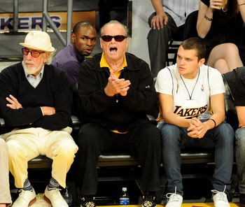 LOS ANGELES, CA - JUNE 06:  Lou Adler (L) and actor Jack Nicholson attends Game 2 of the NBA Finals between the Los Angeles Lakers and Boston Celtics at the Staples Center on June 6, 2010 in Los Angeles, California.  (Photo by Michael Buckner/Getty Images