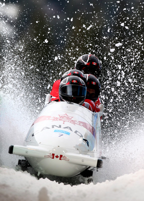 WHISTLER, BC - FEBRUARY 27:  Canada 1 driven by Lyndon Rush completes heat 4 to win the bronze medal during the men's four man bobsleigh on day 16 of the 2010 Vancouver Winter Olympics at the Whistler Sliding Centre on February 27, 2010 in Whistler, Canad