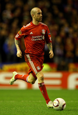 LIVERPOOL, ENGLAND - FEBRUARY 24:   Raul Meireles of Liverpool in action during the UEFA Europa League Round of 32 2nd leg match beteween Liverpool and Sparta Prague at Anfield on February 24, 2011 in Liverpool, England.  (Photo by Richard Heathcote/Getty