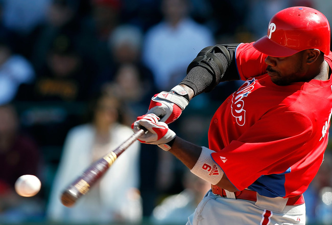 BRADENTON, FL - MARCH 12:  Infielder Ryan Howard #6 of the Philadelphia Phillies fouls off a pitch during a Grapefruit League Spring Training Game against the Pittsburgh Pirates at McKechnie Field on March 12, 2011 in Bradenton, Florida.  (Photo by J. Mer
