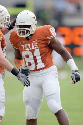 AUSTIN, TX - SEPTEMBER 27:  Sam Acho #81 of the Texas Longhorns is congratulated during the game against the Arkansas Razorbacks on September 27, 2008 at Darrell K Royal-Texas Memorial Stadium in Austin, Texas.  Texas won 52-10.  (Photo by Brian Bahr/Gett