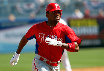 TAMPA, FL - FEBRUARY 26:  Outfielder Ben Francisco #10 of the Philadelphia Phillies advances to third against the New York Yankees during a Grapefruit League Spring Training Game at George M. Steinbrenner Field on February 26, 2011 in Tampa, Florida.  (Ph