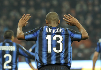 MILAN, ITALY - FEBRUARY 06:  Maicon of Inter reacts during the Serie A match between FC Internazionale Milano and AS Roma at Stadio Giuseppe Meazza on February 6, 2011 in Milan, Italy.  (Photo by Dino Panato/Getty Images)