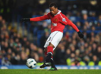 LONDON, ENGLAND - MARCH 01:  Patrice Evra of Manchester United in action during the Barclays Premier League match between Chelsea and Manchester United at Stamford Bridge on March 1, 2011 in London, England.  (Photo by Clive Mason/Getty Images)