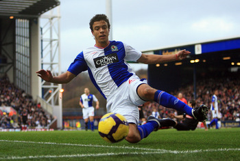 BLACKBURN, ENGLAND - NOVEMBER 28:  Franco Di Santo of Blackburn looks to stop the ball from going out during the Barclays Premier League match between Blackburn Rovers and Stoke City at Ewood Park on November 28, 2009 in Blackburn, England.  (Photo by Mat