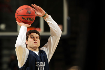 DENVER, CO - MARCH 16:  Jimmer Fredette #32 of the Brigham Young Cougars takes part in practice prior to their second round NCAA Men's Basketball Tournament game at the Pepsi Center on March 16, 2011 in Denver, Colorado.  (Photo by Doug Pensinger/Getty Im