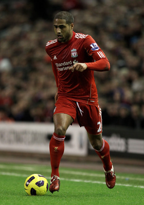 LIVERPOOL, ENGLAND - JANUARY 26:  Glen Johnson of Liverpool in action during the Barclays Premier League match between Liverpool and Fulham at Anfield on January 26, 2011 in Liverpool, England. (Photo by Alex Livesey/Getty Images)
