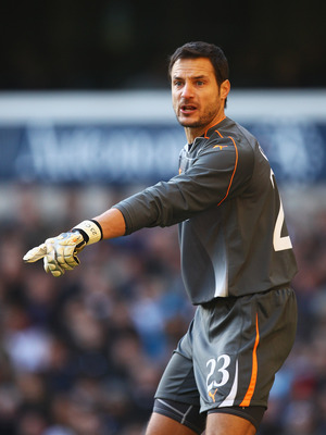 LONDON, ENGLAND - JANUARY 09: Goalkeeper Carlo Cudicini of Tottenham Hotspur gives instructions during the FA Cup sponsored by E.ON 3rd Round match between Tottenham Hotspur and Charlton Athletic at White Hart Lane on January 9, 2011 in London, England.