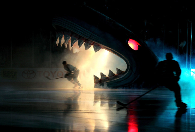 SAN JOSE, CA - MAY 18:  A member of the San Jose Sharks skates out onto the ice during introductions before the Sharks take on the Chicago Blackhawks in Game Two of the Western Conference Finals during the 2010 NHL Stanley Cup Playoffs at HP Pavilion on M