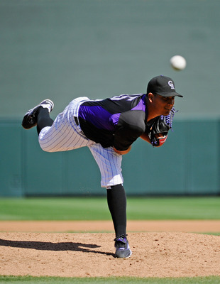 SCOTTSDALE, AZ - MARCH 14:  Pitcher Jhoulys Chacin #45 of the Colorodo Rockies against the Cincinnati Reds  during the spring training baseball game at Salt River Fields at Talking Stick on March 14, 2011 in Scottsdale, Arizona.  (Photo by Kevork Djansezi