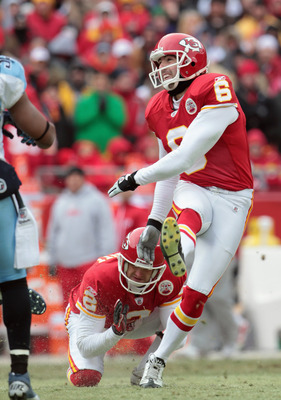 KANSAS CITY, MO - DECEMBER 26:  Kicker Ryan Succop #6 of the Kansas City Chiefs in action during the game against the Tennessee Titans on December 26, 2010 at Arrowhead Stadium in Kansas City, Missouri.  (Photo by Jamie Squire/Getty Images)