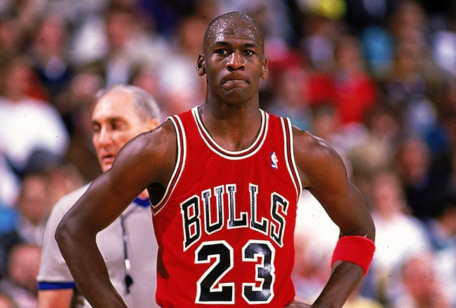 1990:  Michael Jordan #23 of the Chicago Bulls looks on during the game.   Mandatory Credit: Ken Levine  /Allsport