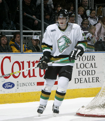 LONDON, ONTARIO - FEBRUARY 17:  Matt Pelech #7 of the London Knights skates against the Peterborough Petes at the John Labatt Centre on February 17, 2006 in London, Ontario. The Knights won 4-1. (Photo By Dave Sandford/Getty Images)