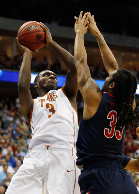 TULSA, OK - MARCH 20:  Jordan Hamilton #3 of the Texas Longhorns goes up for a shot against Jesse Perry #33 of the Arizona Wildcats during the third round of the 2011 NCAA men's basketball tournament at BOK Center on March 20, 2011 in Tulsa, Oklahoma.  (P