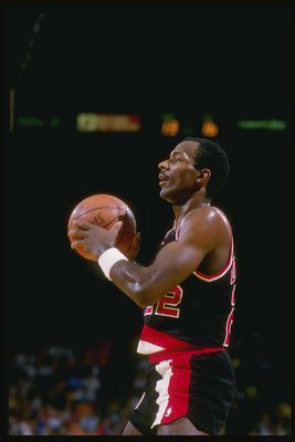 Nov 1987:  Forward Clyde Drexler of the Portland Trailblazers stands on the court during a game against the Los Angeles Lakers at the Great Western Forum in Inglewood, California.   Mandatory Credit: Mike Powell  /Allsport