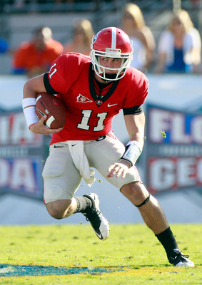 JACKSONVILLE, FL - OCTOBER 30:  Quarterback Aaron Murray #11 of the Georgia Bulldogs runs for yardage during the game against the Florida Gators at EverBank Field on October 30, 2010 in Jacksonville, Florida.  (Photo by Sam Greenwood/Getty Images)