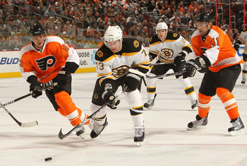 PHILADELPHIA, PA - DECEMBER 01: Michael Ryder #73 of the Boston Bruins skates with the puck against the Philadelphia Flyers at the Wells Fargo Center on December 1, 2010 in Philadelphia, Pennsylvania.  (Photo by Nick Laham/Getty Images)