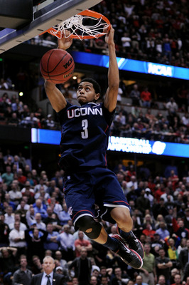 ANAHEIM, CA - MARCH 24:  Jeremy Lamb #3 of the Connecticut Huskies dunks the ball towards the end of the game against of the San Diego State Aztecs during the west regional semifinal of the 2011 NCAA men's basketball tournament at the Honda Center on Marc