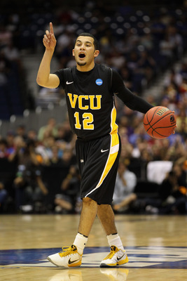 SAN ANTONIO, TX - MARCH 25:  Joey Rodriguez #12 of the Virginia Commonwealth Rams sets up the play against the Florida State Seminoles during the southwest regional of the 2011 NCAA men's basketball tournament at the Alamodome on March 25, 2011 in San Ant