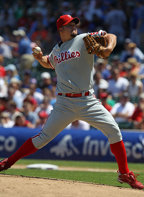 CHICAGO - JULY 16: Starting pitcher Joe Blanton #56 of the Philadelphia Phillies delivers the ball against the Chicago Cubs at Wrigley Field on July 16, 2010 in Chicago, Illinois. The Cubs defeated the Phillies 4-3.  (Photo by Jonathan Daniel/Getty Images