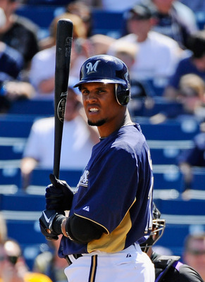 PHOENIX, AZ - MARCH 10:  Carlos Gomez #27 of the Milwaukee Brewers against the Colorado Rockies during the spring training baseball game at Maryvale Baseball Park on March 10, 2011 in Phoenix, Arizona.  (Photo by Kevork Djansezian/Getty Images)