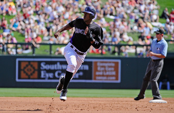SCOTTSDALE, AZ - MARCH 14:  Dexter Fowler #24 of the Colorodo Rockies against the Cincinnati Reds  during the spring training baseball game at Salt River Fields at Talking Stick on March 14, 2011 in Scottsdale, Arizona.  (Photo by Kevork Djansezian/Getty 