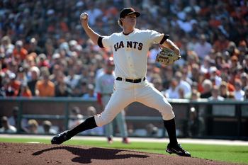 SAN FRANCISCO - OCTOBER 19:  Matt Cain #18 of the San Francisco Giants pitches in the first inning against the Philadelphia Phillies in Game Three of the NLCS during the 2010 MLB Playoffs at AT&T Park on October 19, 2010 in San Francisco, California.  (Ph