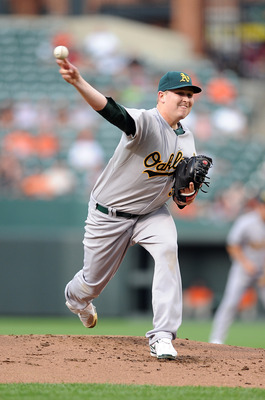 BALTIMORE - MAY 26:  Trevor Cahill #53 of the Oakland Athletics pitches against the Baltimore Orioles at Camdem Yards on May 26, 2010 in Baltimore, Maryland.  (Photo by Greg Fiume/Getty Images)
