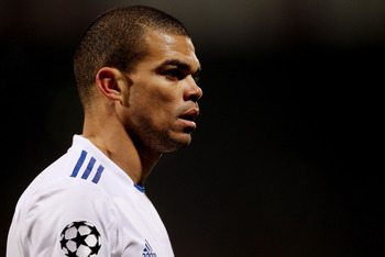 LYON, FRANCE - FEBRUARY 22:  Pepe of Real Madrid during the Champions League match between Lyon and Real Madrid at Stade Gerland on February 22, 2011 in Lyon, France.  (Photo by Scott Heavey/Getty Images)