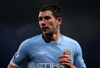 MANCHESTER, ENGLAND - MARCH 02:  Aleksandar Kolarov of Manchester City in action during the FA Cup sponsored by E.On Fifth Round match between Manchester City and Aston Villa at the City of Manchester Stadium on March 2, 2011 in Manchester, England.  (Pho