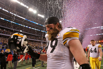 ARLINGTON, TX - FEBRUARY 06:  Brett Keisel #99 of the Pittsburgh Steelers walks off the field after losing to the Green Bay Packers during Super Bowl XLV at Cowboys Stadium on February 6, 2011 in Arlington, Texas.  (Photo by Ronald Martinez/Getty Images)