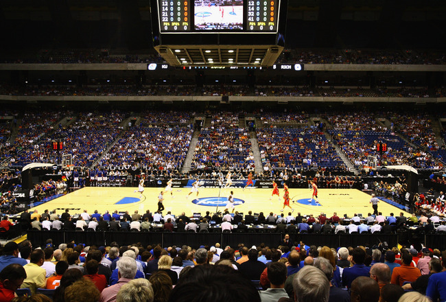 SAN ANTONIO, TX - MARCH 25:  A general view of the court during the southwest regional of the 2011 NCAA men's basketball tournament between the Richmond Spiders and the Kansas Jayhawks at the Alamodome on March 25, 2011 in San Antonio, Texas.  (Photo by J