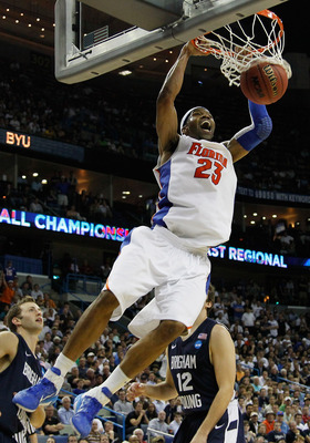 NEW ORLEANS, LA - MARCH 24:  Alex Tyus #23 of the Florida Gators dunks during their 83 to 74 win over the Brigham Young Cougars in the Southeast regional of the 2011 NCAA men's basketball tournament at New Orleans Arena on March 24, 2011 in New Orleans, L
