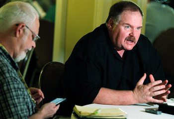 NEW ORLEANS, LA - MARCH 22:  Philadelphia Eagles head coach Andy Reid answers questions from the media during the NFL Annual Meetings at the Roosevelt Hotel on March 22, 2011 in New Orleans, Louisiana. Despite a NFL owners imposed lockout in effect since