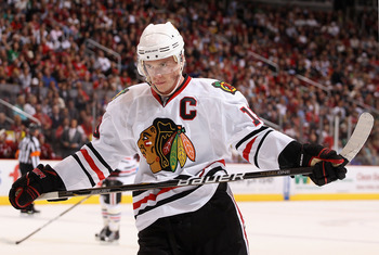 GLENDALE, AZ - MARCH 20:  Jonathan Toews #19 of the Chicago Blackhawks skates up to a face off against the Phoenix Coyotes during the NHL game at Jobing.com Arena on March 20, 2011 in Glendale, Arizona.  (Photo by Christian Petersen/Getty Images)