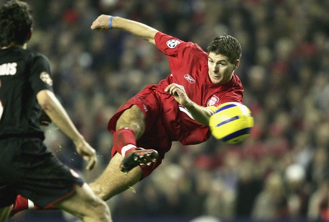LIVERPOOL, ENGLAND -DECEMBER 8: Steven Gerrard of Liverpool shoots, only to see his goal dissalowed during the Champions League Group A match between Liverpool and Olympiakos at Anfield on December 8, 2004 in Liverpool, England.  (Photo by Clive Brunskill