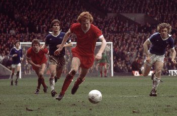 Apr 1977:  David Fairclough of Liverpool in action during the Football League Division One match between Liverpool and Everton at Anfield, Liverpool, England. \ Mandatory Credit: Tony Duffy /Allsport
