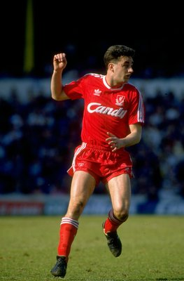 1989:  John Aldridge of Liverpool in action during a Barclays Division One match played at Anfield in Liverpool, England. \ Mandatory Credit: Allsport UK /Allsport