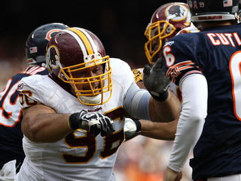 CHICAGO - OCTOBER 24: Ma'ake Kemoeatu #96 of the Washington Redskins rushes towards Jay Cutler #6 of the Chicago Bears at Soldier Field on October 24, 2010 in Chicago, Illinois. The Redskins defeated the Bears 17-14. (Photo by Jonathan Daniel/Getty Images