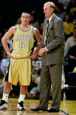 19 Dec 1998: Brian Grawer #12 of the Missouri Tigers talks to head coach Norm Stewart during the game against the Iowa Hawkeyes at the Carver-Hawkeye Arena in Iowa City, Iowa. The Hawkeyes defeated the Tigers 82-68.