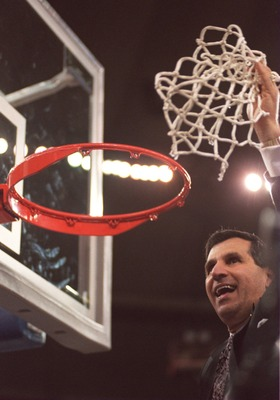 3 APR 1995:  UCLA  COACH JIM HARRICK CELEBRATES AFTER DEFEATING ARKANSAS 89-78 IN THE NCAA MEN''S BASKETBALL CHAMPIONSHIP TONIGHT AT THE KINGDOME IN SEATTLE, WASHINGTON.    Mandatory Credit: Stephen Dunn/ALLSPORT