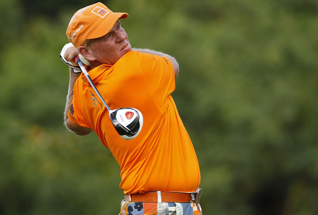 RIO GRANDE, PR - MARCH 10:  John Daly hits a drive during the first round of the Puerto Rico Open presented by seepuertorico.com at Trump International Golf Club on March 10, 2011 in Rio Grande, Puerto Rico.  (Photo by Michael Cohen/Getty Images)