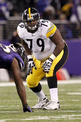 BALTIMORE, MD - DECEMBER 05:  Trai Essex #79 of the Pittsburgh Steelers lines up against the Baltimore Ravens at M&amp;T Bank Stadium on December 5, 2010 in Baltimore, Maryland.  (Photo by Geoff Burke/Getty Images)