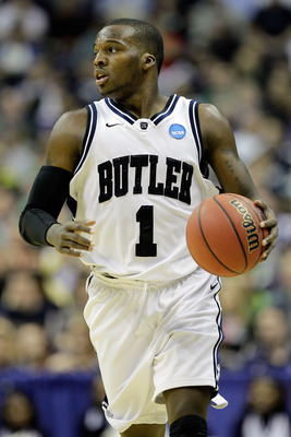 WASHINGTON - MARCH 17:  Shelvin Mack #1 of the Butler Bulldogs brings the ball down the court against the Old Dominion Monarchs during the second round of the 2011 NCAA men's basketball tournament at the Verizon Center on March 17, 2011 in Washington, DC.