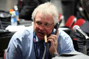 MONTREAL, QC - JUNE 27:  General Manager and President Glen Sather of the New York Rangers works the phones during the 2009 NHL Entry Draft at the Bell Centre on June 27, 2009 in Montreal, Quebec, Canada.  (Photo by Bruce Bennett/Getty Images)